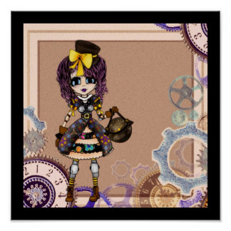 Trendy Teen Girl steampunk PinkyP personalized Posters