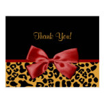 Trendy Thank You Black And Gold Leopard Red Ribbon Postcards