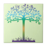 Trendy Tree Design Small Square Tile