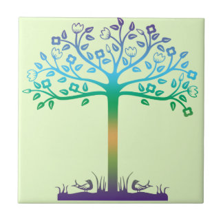 Trendy Tree Design Small Square Tile