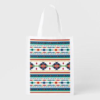 trendy tribal ethnic Navajo geometric pattern Reusable Grocery Bag