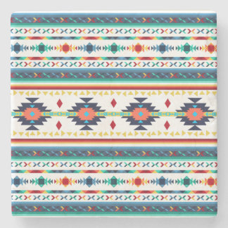 trendy tribal ethnic Navajo geometric pattern Stone Coaster