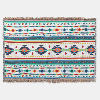 trendy tribal ethnic Navajo geometric pattern Throw Blanket