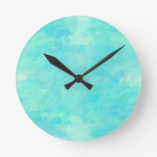 Trendy Tropical Aqua Watercolor Paint Background Round Clock