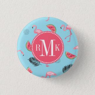 Trendy Tropical Flamingo & Watermelon Pattern 3 Cm Round Badge