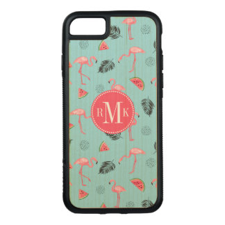 Trendy Tropical Flamingo & Watermelon Pattern Carved iPhone 8/7 Case