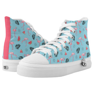 Trendy Tropical Flamingo & Watermelon Pattern High Tops