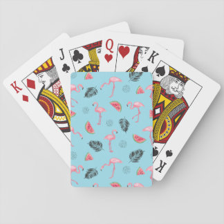 Trendy Tropical Flamingo & Watermelon Pattern Playing Cards