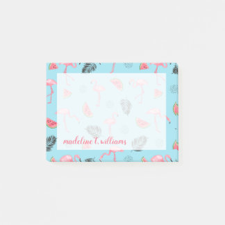 Trendy Tropical Flamingo & Watermelon Pattern Post-it Notes