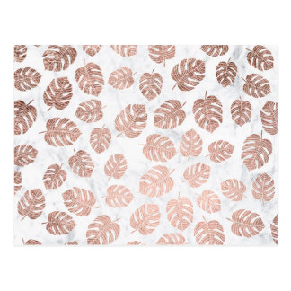Trendy tropical leaf monstera rose gold marble postcard