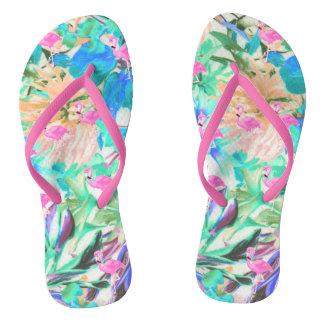 Trendy tropical teal pink floral flamingo flip flops
