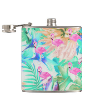Trendy tropical teal pink floral flamingo hip flask