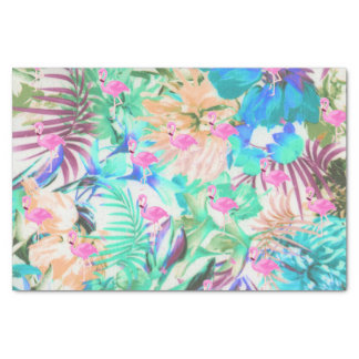 Trendy tropical teal pink floral flamingo tissue paper