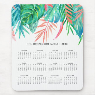 Trendy Tropical Watercolor | 2018 Calendar Mouse Mat