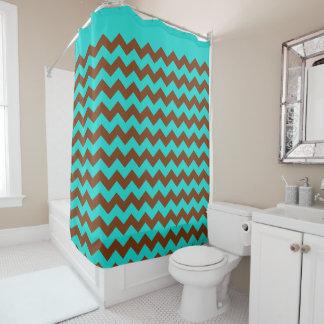 Trendy Turquoise Blue Brown Chevron Zigzag Pattern Shower Curtain