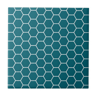 Trendy Turquoise Geometric Hexagon Pattern Small Square Tile
