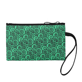 Trendy Turquoise Swirly Abstract Pattern Coin Purse