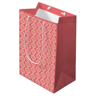 Trendy Two-Tone Pink Moroccan Quatrefoil Gift Bag