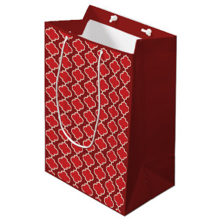 Trendy Two-Tone Red Moroccan Quatrefoil Gift Bag