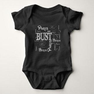 Trendy Typography Paris or Bust Baby Bodysuit