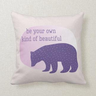 Trendy Ultra Violet Purple Scandinavian Style Bear Cushion