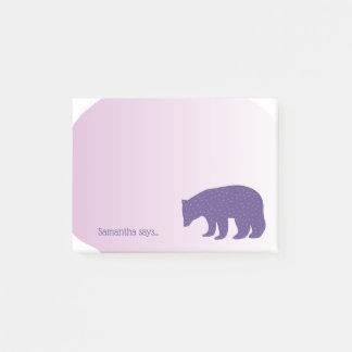 Trendy Ultra Violet Purple Scandinavian Style Bear Post-it Notes