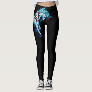 Trendy Unicorn Fantasy On Black Leggings