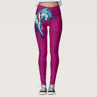 Trendy Unicorn Fantasy On Pink Grunge Leggings