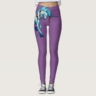 Trendy Unicorn Fantasy On Purple Leggings