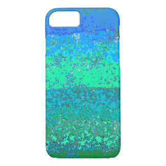 Trendy Unique Blue Green Stippled Abstract iPhone 8/7 Case