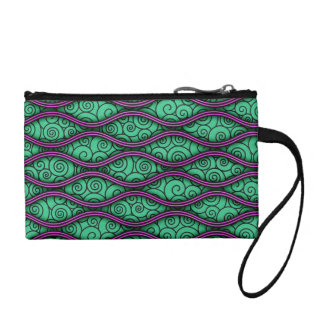Trendy Unique Swirly Wavy Abstract Pattern Coin Purse