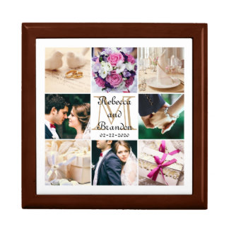 Trendy Unique Wedding Monogrammed Photo Collage Large Square Gift Box