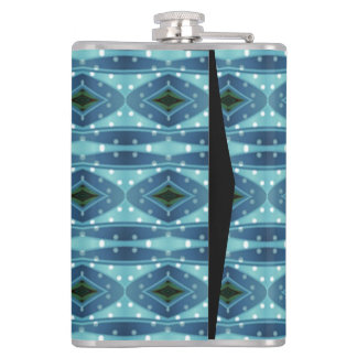 Trendy vertical blue pattern hip flask