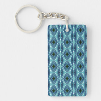 Trendy vertical blue pattern rectangle acrylic keychains