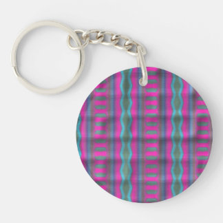 Trendy vertical pattern Double-Sided round acrylic keychain