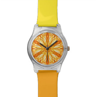 Trendy, Vibrant Yellow and Orange Fractal Wristwatch