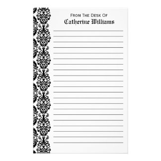 Trendy Victorian Black Lace Damask Side Border Personalised Stationery