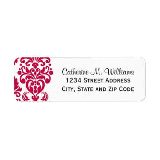 Trendy Victorian Hot Pink Lace Damask Return Address Label