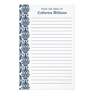 Trendy Victorian Navy Blue Lace Damask Side Border Personalised Stationery
