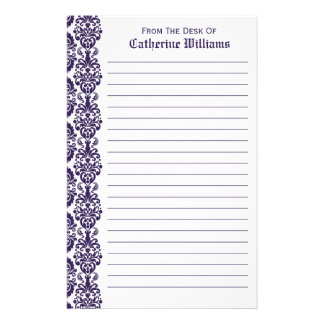 Trendy Victorian Purple Lace Damask Side Border Personalised Stationery