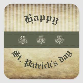 Trendy vinatge grundge Irish shamrock Square Sticker