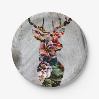 Trendy Vintage Floral Stag on Wooden Texture Paper Plate