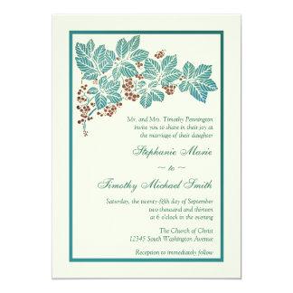 Trendy vintage floral stamp wedding invitation