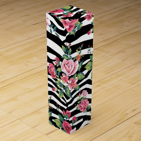 trendy vintage roses and zebra stripes pattern wine
