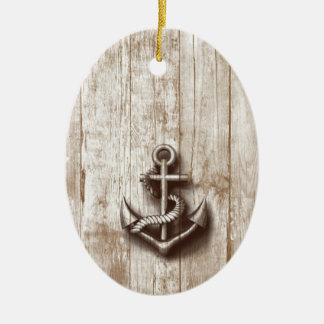 Trendy vintage rustic nautical anchor ceramic oval decoration