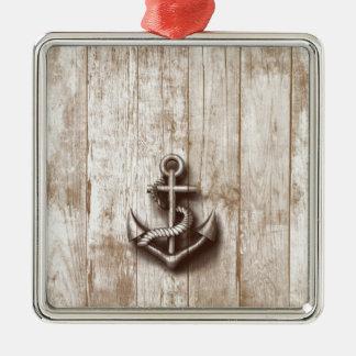 Trendy vintage rustic nautical anchor christmas ornament