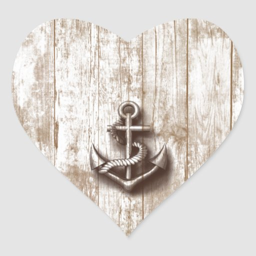 Trendy vintage rustic nautical anchor heart stickers