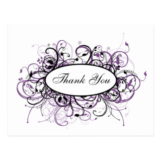 trendy violet ThankYou Cards Postcard