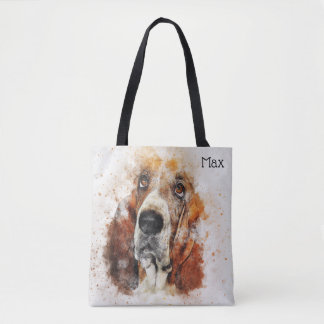 Trendy Watercolor Basset Hound Personalized Tote Bag