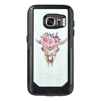 Trendy Watercolor Floral Bull Skull OtterBox Samsung Galaxy S7 Case